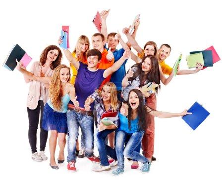 Photo pour Étudiant de groupe avec ordinateur portable isolé. - image libre de droit