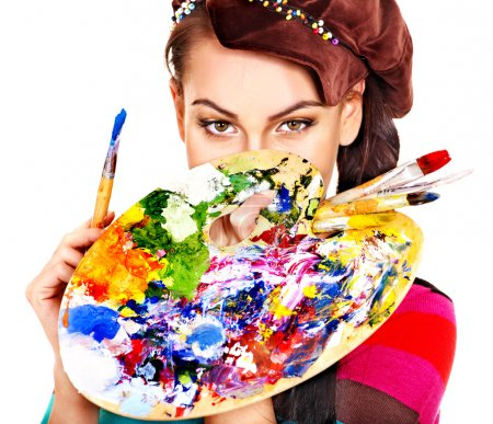 Photo for Face of artist woman with paint palette. Isolated. - Royalty Free Image