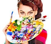 """Постер, картина, фотообои """"Художник женщина с палитры краски."""""""