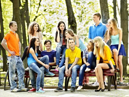 Photo for Group people on bench outdoor. - Royalty Free Image