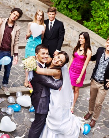 Photo for Happy couple at wedding outdoor. High angle view. - Royalty Free Image