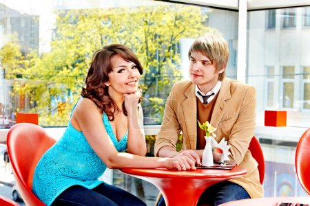 Photo for Couple on date in restaurant. Happy dating. - Royalty Free Image
