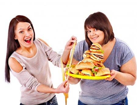 Woman holding fast food