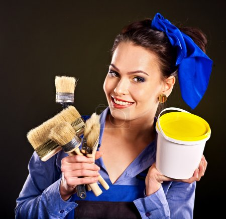 Photo for Builder woman witn tools - Royalty Free Image