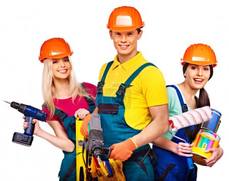 Photo for Group people builder with construction tools. Isolated. - Royalty Free Image