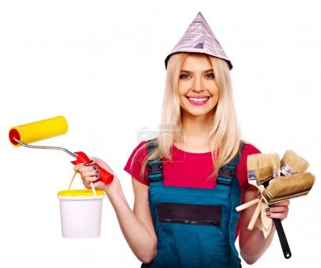 Builder woman with tools.