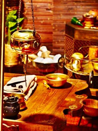 Photo pour Luxe spa ayurvédique massage nature morte. - image libre de droit
