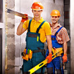 Happy group people in builder uniform....