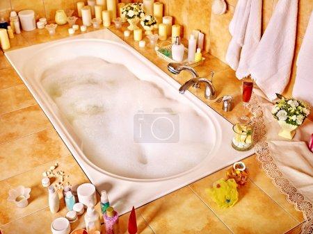 Bathroom interior with bubble bath.