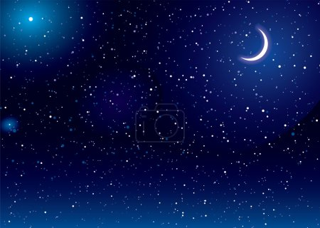 Illustration for Space scene with stars and moon ideal desktop background - Royalty Free Image