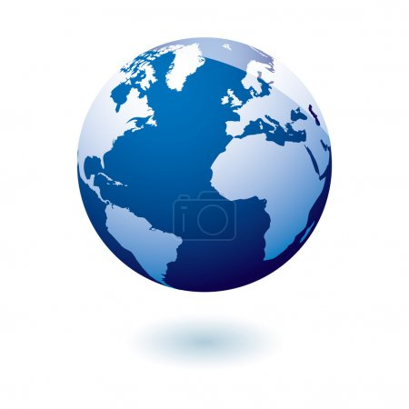 Illustration for Simple blue earth icon in the modern gel style - Royalty Free Image