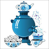 Samovar with tea cup cake
