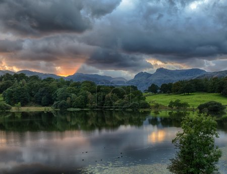 Sunset at Loughrigg Tarn in Lake District