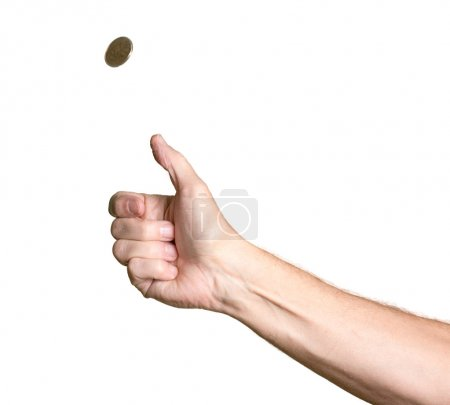 Photo for Male bare arm with hand tossing a golden USA coin in the air and spinning towards heads - Royalty Free Image