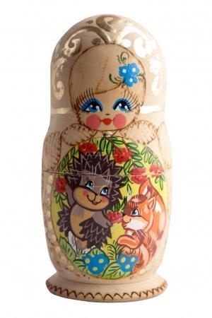 Russian doll matryoshka babushka isolated on white background.