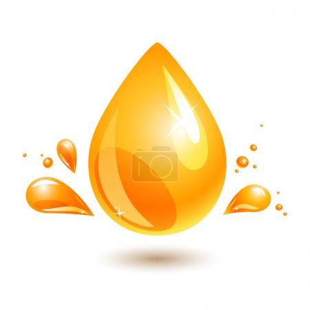 Illustration pour Une goutte d'huile orange sur blanc. jpg inclure chemin isolé. eps10 - image libre de droit