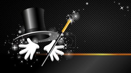 Illustration pour Présentation magique avec baguette magique haut de forme et main - image libre de droit