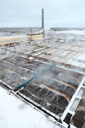 Sewage treatment plant in winter season
