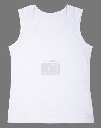 Sleeveless unisex shirt isolated on gray