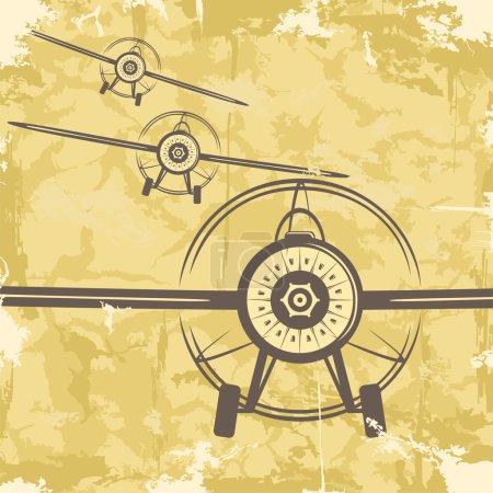 Vintage grunge postcard design with plane. Vector