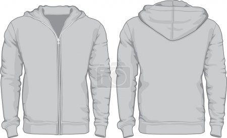 Mens hoodie shirts template. Front and back views