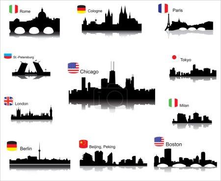 Photo pour Silhouettes vectorielles détaillées des villes du monde - image libre de droit