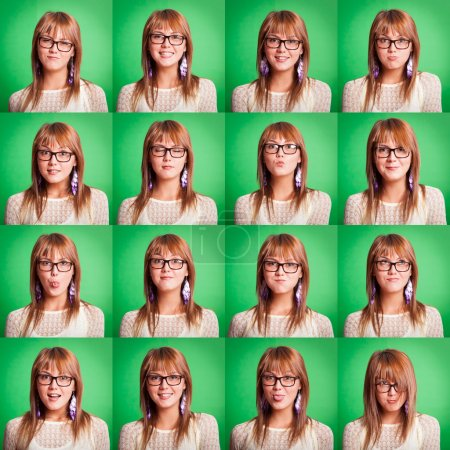 Beautiful Young Woman Collection of Expressions on Green