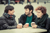 Group of Friends with Hot Drink on Winter