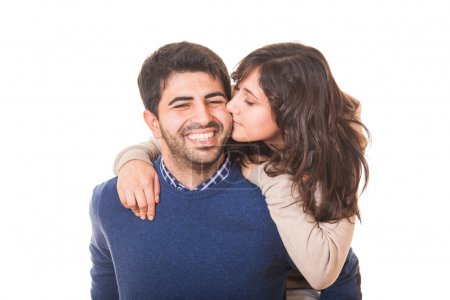 Young Girl Kissing Her Boyfriend