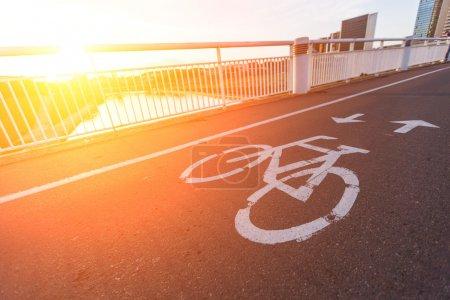 Bike Lane over the Bridge at Sunset