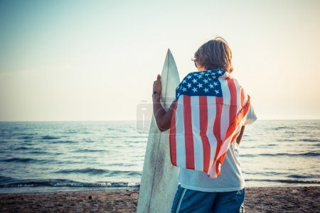 American Boy with Surf Board