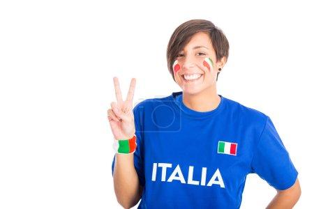 Italian Supporter on White Background