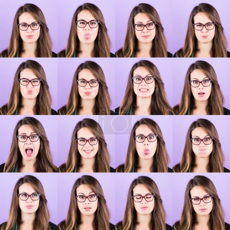 Young Woman Portrait, Collection of Expressions