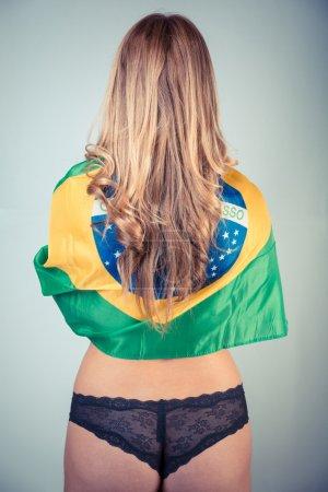Sexy Brazialian Woman with National Flag
