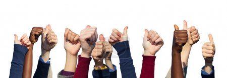Multiracial Thumbs Up on White Background