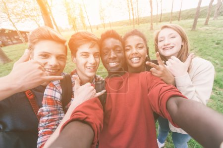 Photo for Group of Multiethnic Teenagers Taking a Selfie - Royalty Free Image
