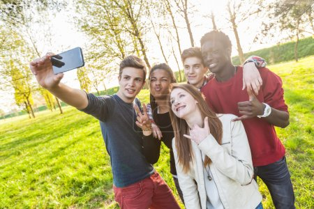 Teenage Friends Taking Selfie at Park