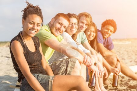 Photo for Multiracial Group of Friends at Beach - Royalty Free Image