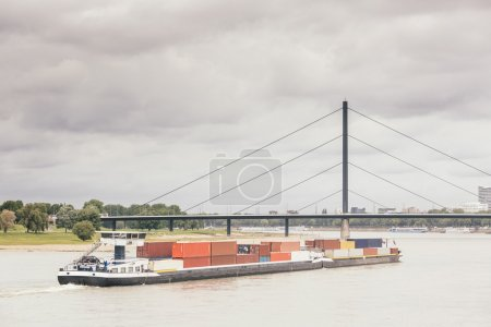 Cargo Barge on Rhine River in Dusseldorf