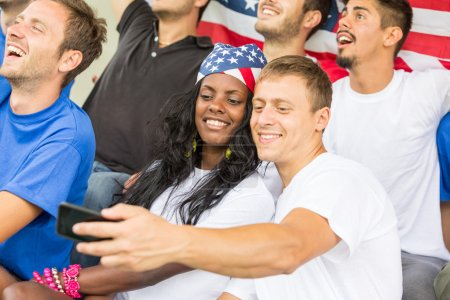 American Supporters taking Selfie at Stadium