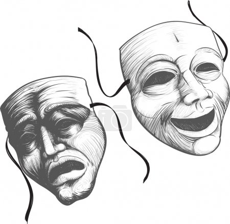 Illustration pour Deux masques de théâtre classique un triste et joyeux, comédie et tragédie - image libre de droit