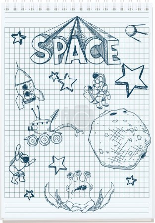 Illustration for Sloppy sketch pen in the notebook space themed - Royalty Free Image