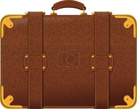 Illustration for Realistic image old fashioned brown suitcase side view - Royalty Free Image