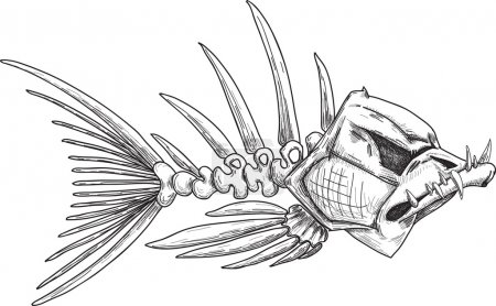 Illustration for Sketch of evil skeleton fish with sharp crooked teeth - Royalty Free Image