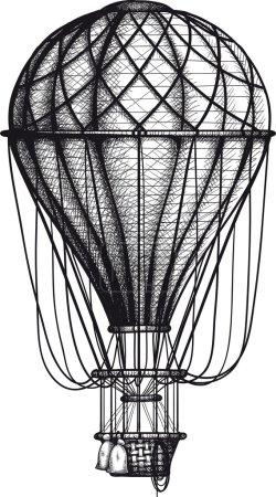 Illustration pour Ballon Air vintage dessiné comme gravure isolée sur fond blanc - image libre de droit