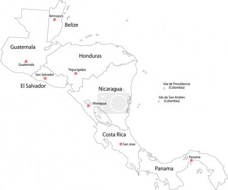 Contour Central America map