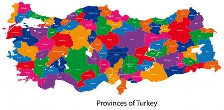 Illustration pour Carte des divisions administratives de la Turquie - image libre de droit