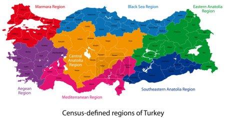 Illustration pour Carte de la Turquie conçue en illustration avec des régions colorées en couleurs vives - image libre de droit