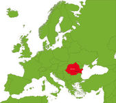 Location of Romania on the Europe continent