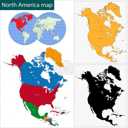 Carte d'Amérique du Nord